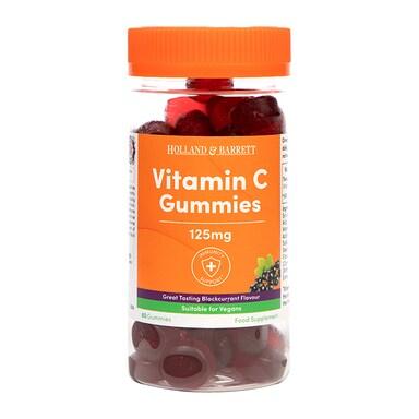 Holland & Barrett Vitamin C 125mg Blackcurrant Flavour 60 Gummies
