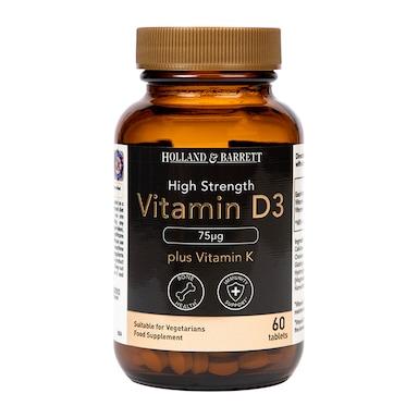 Holland & Barrett Vitamin D3 75ug plus 100ug K2 60 Tablets