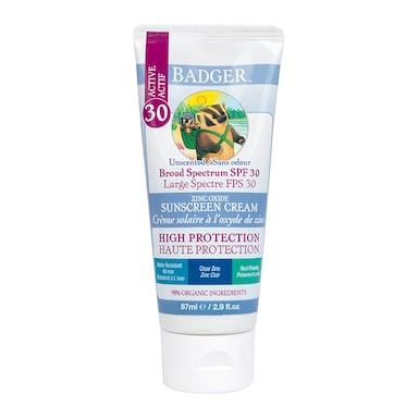 Badger Unscented SPF30 Clear Zinc Sunscreen 82g