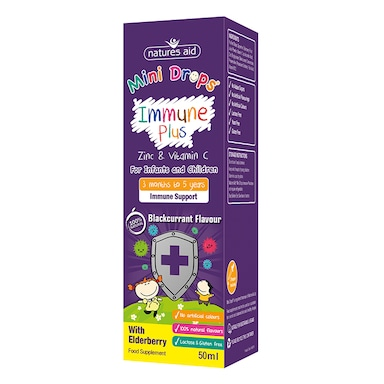 Natures Aid Mini Drops Children's Immune Plus Blackcurrant Flavour Supplement 50ml