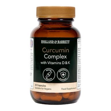 Holland & Barrett Curcumin Complex with Vitamin D & K 30 Capsules