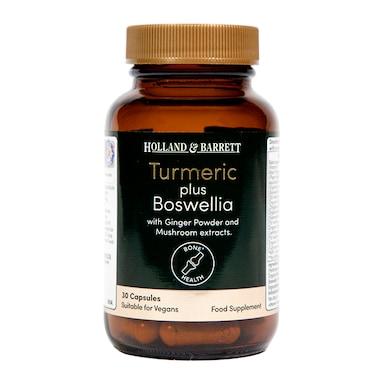 Holland & Barrett Organic Turmeric and Boswelia with Mushrooms and Ginger 30 Capsules
