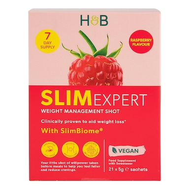 Holland & Barrett SlimExpert Shots Raspberry Flavour 21 Sachets