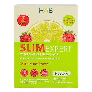 Holland & Barrett SlimExpert Strawberry & Lime Shots Flavour 21 Sachets