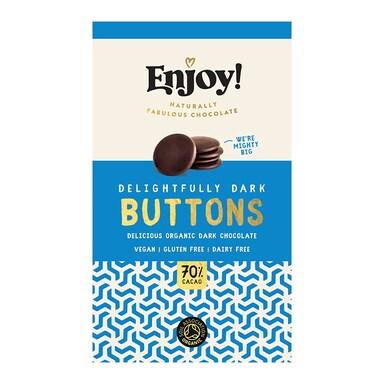 Enjoy Raw Choc Dark 70% Chocolate Buttons 96g