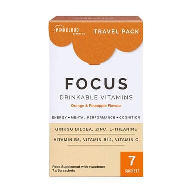 Pink Cloud Focus Drinkable Vitamins Orange & Pineapple 7 Sachets