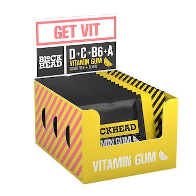 Blockhead Vitamin Gum Lemon 10 x 10 Pieces
