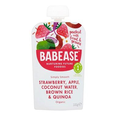 Babease Organic Strawberry, Apple & Coconut Water 4m+ 100g
