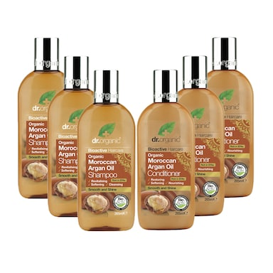 Dr Organic Moroccan Argan Oil Shampoo & Conditioner Bundle 6 x 265ml