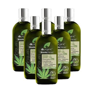 Dr Organic Hemp Oil 2 in 1 Shampoo & Conditioner Bundle 6 x 265ml