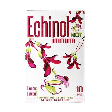 Echinol Hot Immune Powdered Drink Mix African Geranium Lemon Linden Flavoured 10 Sachets