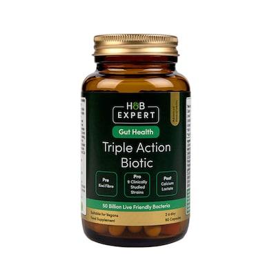 H&B Expert Triple Action Biotic Gut Formula 60 Capsules
