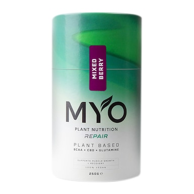 MYO Plant Nutrition Repair BCAA, CBD & Glutamine Mixed Berry 250g