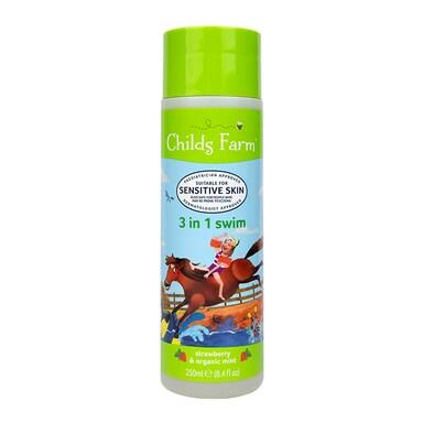 Childs Farm Strawberry & Organic Mint 3 in 1 Swim Shampoo, Conditioner & Body Wash 250ml