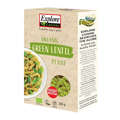 Explore Cuisine Organic Green Lentil Penne 250g