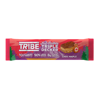 TRIBE Nut Butter Triple Decker Chocolate Maple Bar 40g