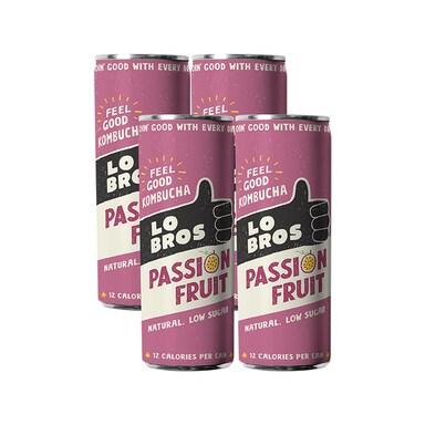 Lo Bros Organic Kombucha Passion Fruit 4 x 250ml