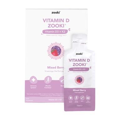 YourZooki Liposomal Vitamin D3 3000IU & K2 100UG Mixed Berry Flavour 15ml Sachets 14 Pack