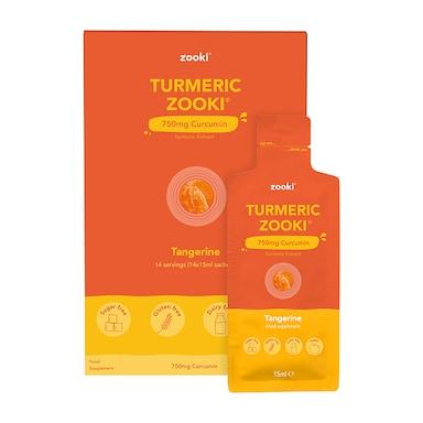YourZooki Turmeric Zooki Micellar Curcumin 750mg Tangerine Flavour 14 Sachets x 15ml