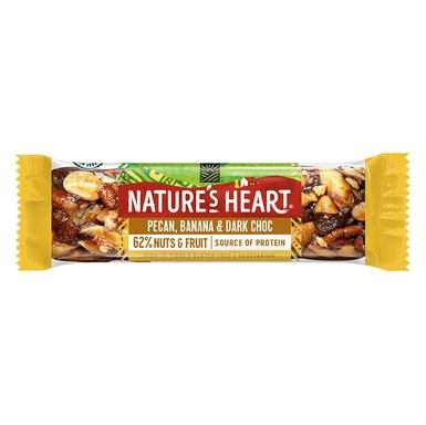 Nature's Heart Dark Choc, Banana and Pecan Fruit & Nut Bar 35g