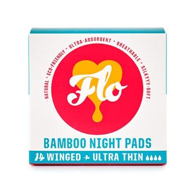 Flo Bamboo Night Pad Pack (14 winged & ultra thin)