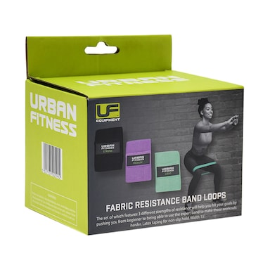 Urban Fitness Fabric Resistance Band Loop (Set of 3) 15 Inch