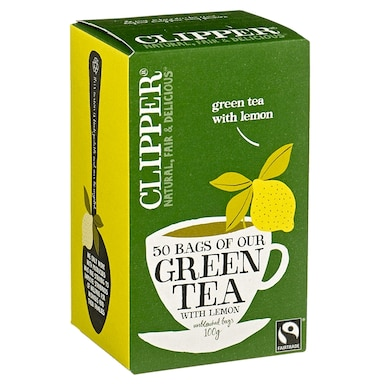 Clipper Fairtrade Green Tea & Lemon 50 Tea Bags