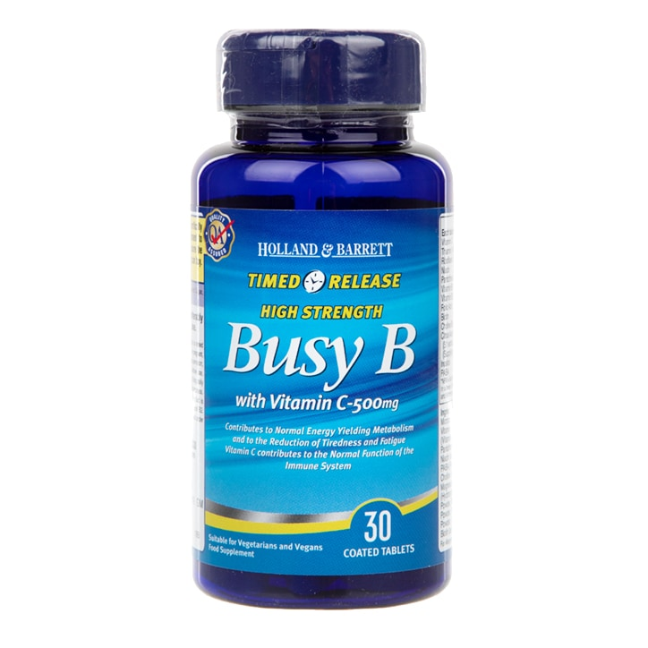 Holland & Barrett Timed Release Busy B Complex with Vitamin C 30 Caplets 500mg