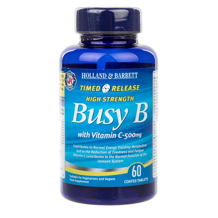Holland & Barrett Timed Release Busy B Complex with Vitamin C 60 Caplets 500mg