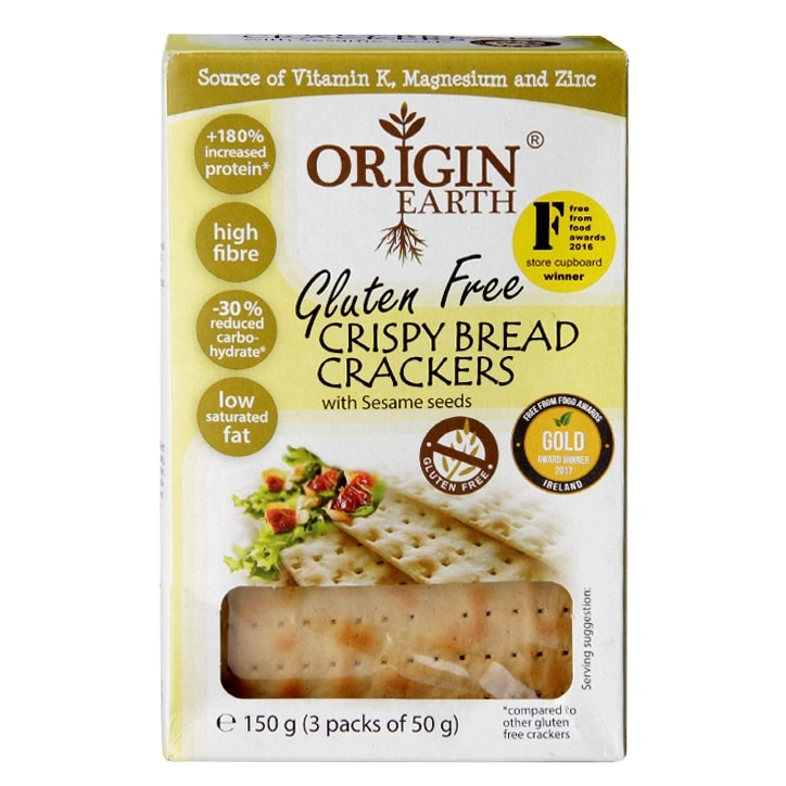 Origin Earth Gluten Free Crispy Bread Crackers with Sesame Seeds 150g