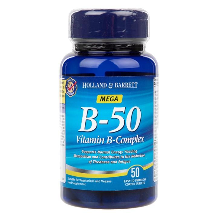 Holland & Barrett Mega B 50 Vitamin B Complex Caplets 50 Caplets