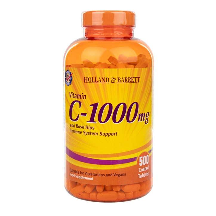 Holland & Barrett Vitamin C with Wild Rose Hips 500 Caplets 1000mg