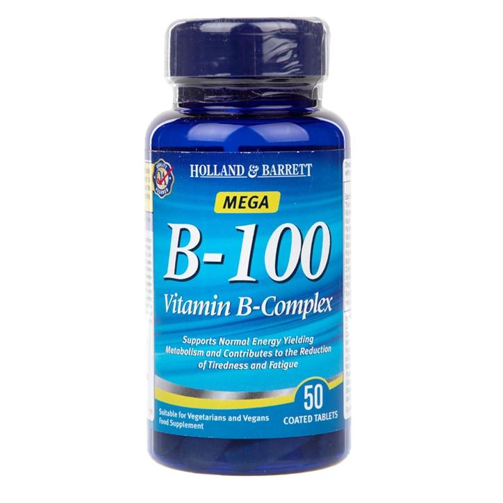 Holland & Barrett Mega B-100 Vitamin B Complex 50 Caplets