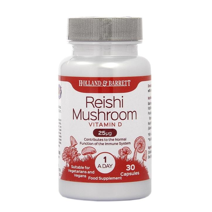 Holland & Barrett Reishi Mushroom Vitamin D 25ug 30 Capsules