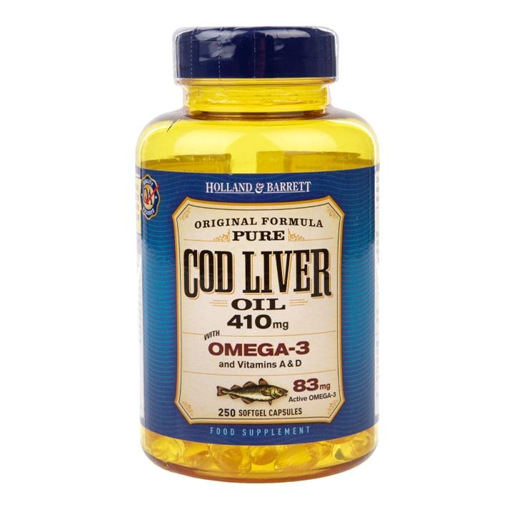 Holland & Barrett Cod Liver Oil 250 Capsules 410mg