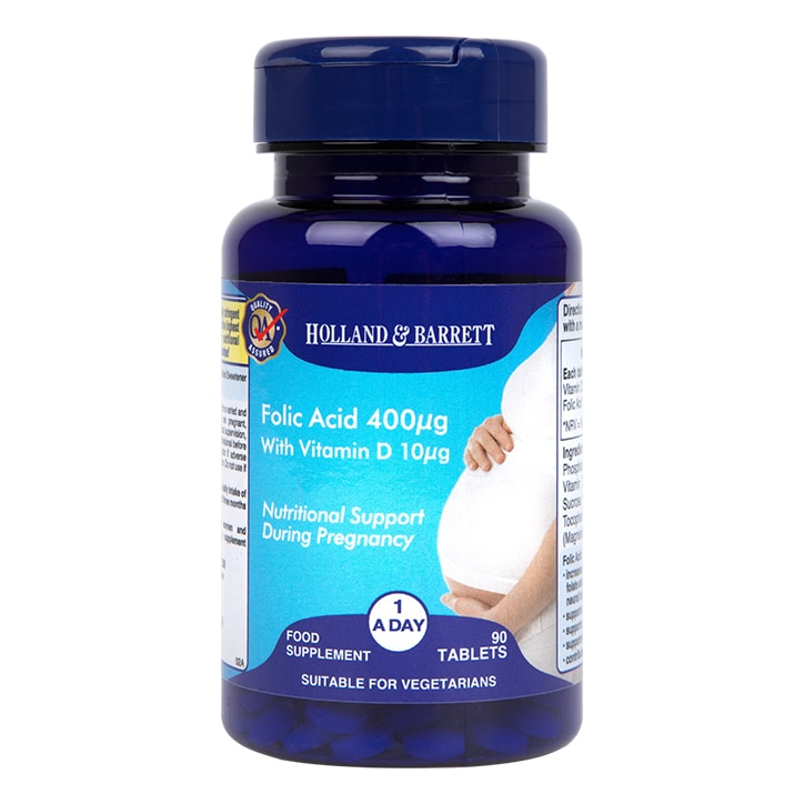 Holland & Barrett Folic Acid 400ug with Vitamin D 10ug Tablets
