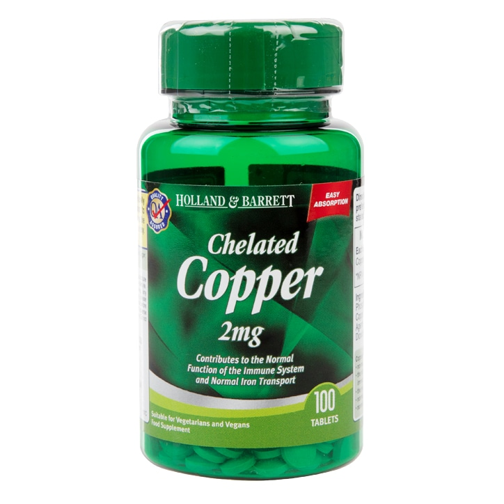 Holland & Barrett Chelated Copper 100 Tablets 2mg