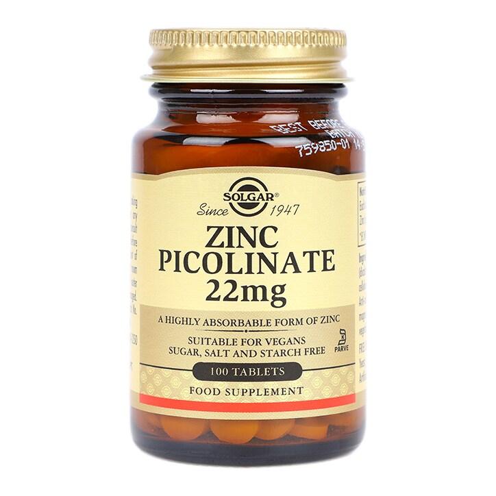 Solgar Zinc Picolinate 22mg 100 Tablets by Solgar Zinc Picolinate 22mg 100 Tablets
