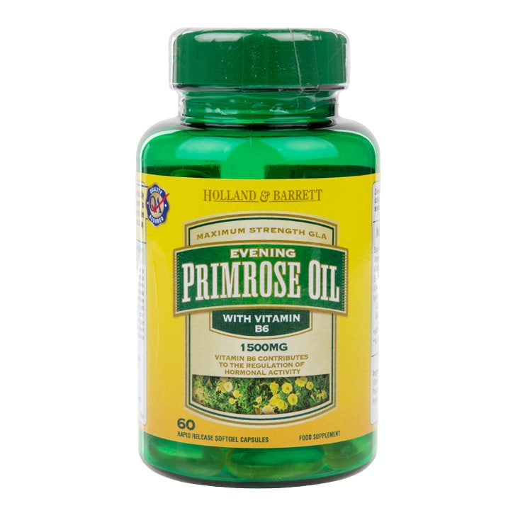 Holland & Barrett Evening Primrose Oil 1500mg Plus Vitamin B6 60 Capsules