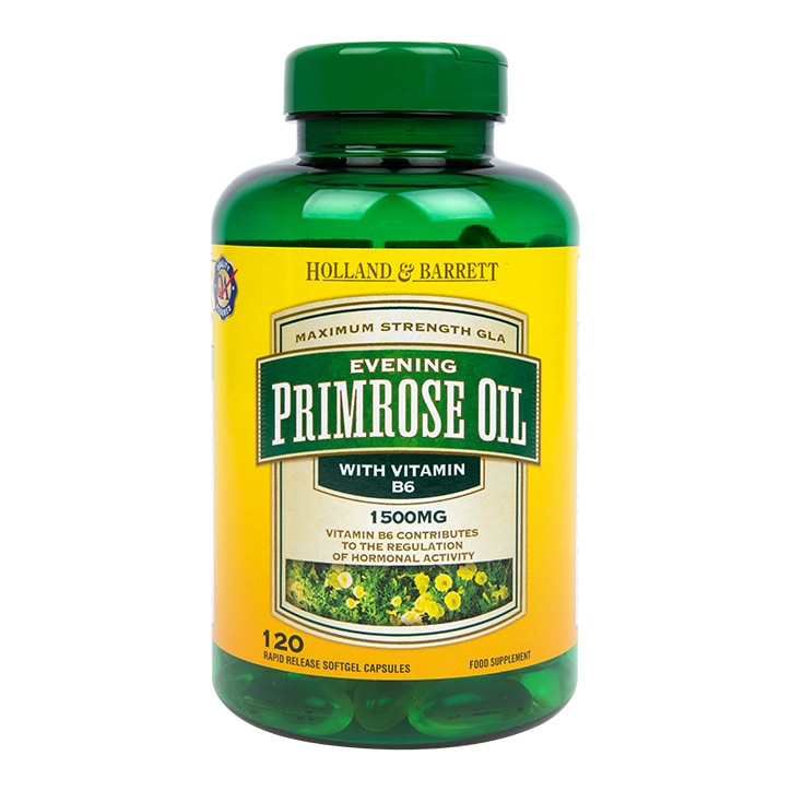 Holland & Barrett Evening Primrose Oil 1500mg Plus Vitamin B6 120 Capsules