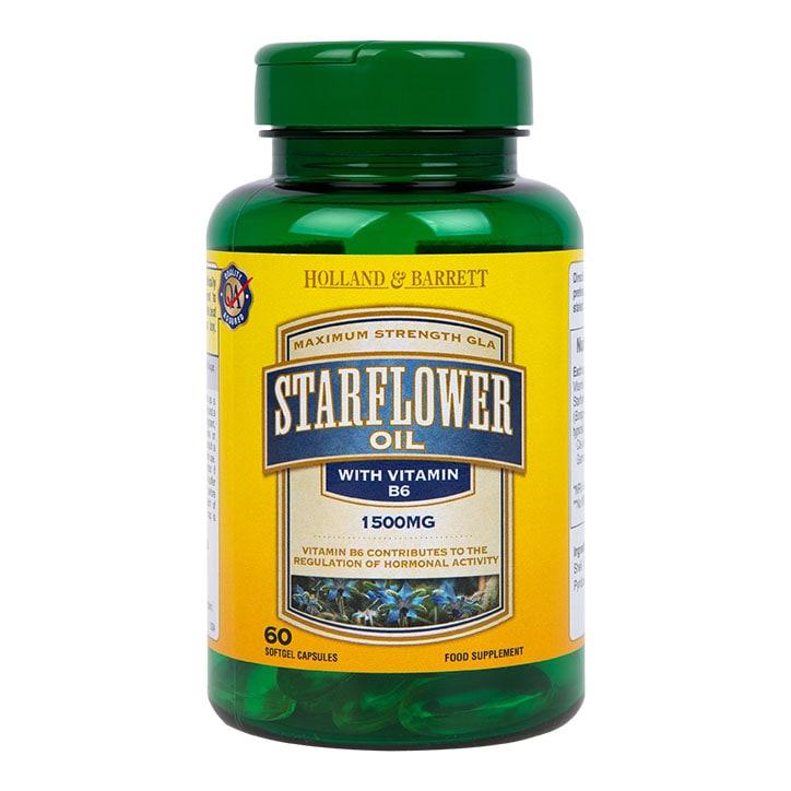 Holland & Barrett Starflower Oil 1500mg Plus Vitamin B6 60 Capsules