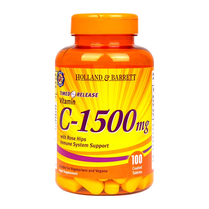 Holland & Barrett Timed Release Vitamin C With Wild Rose Hips Caplets 1500mg