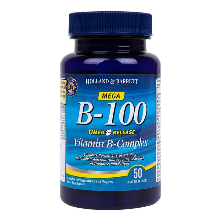 Holland & Barrett Timed Release Mega Vitamin B Complex Caplets 100mg