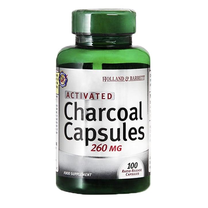 Holland & Barrett Charcoal 100 Capsules 260mg