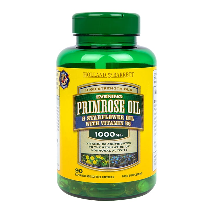 Holland & Barrett Evening Primrose Oil and Starflower Oil Capsules 1000mg plus Vitamin B6