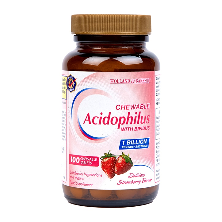 Holland & Barrett Acidophilus Chewable Strawberry 100 Tablets