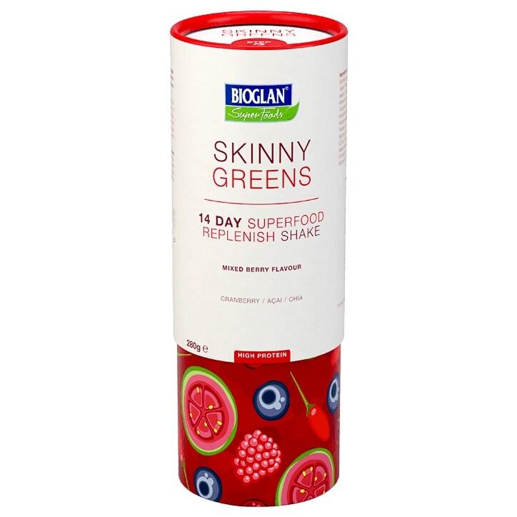 Bioglan Skinny Greens 14 Day Superfood Replenish Shake Mixed Berry 280g