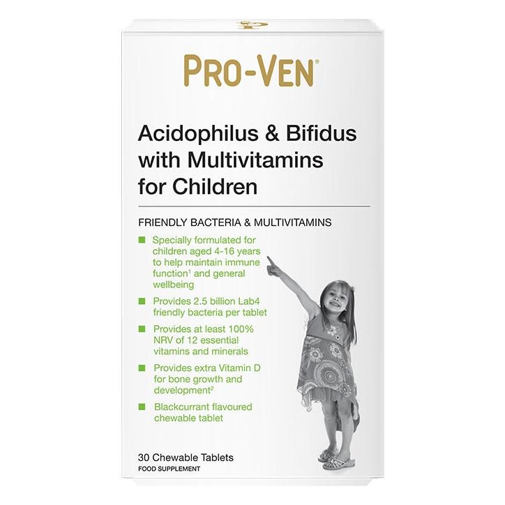 Pro-Ven Acidophilus & Bifidus with Multivitamins Tablets for Children