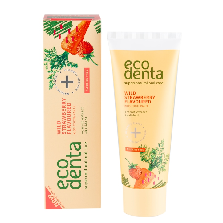 Ecodenta Wild Strawberry Scented Toothpaste for Children with Carrot Extract & Kalident