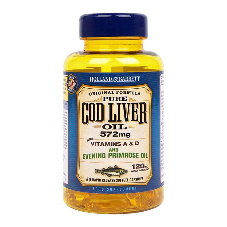 63666ab70e8 Holland   Barrett Cod Liver Oil with Evening Primrose 60 Capsules 500mg  £8.49